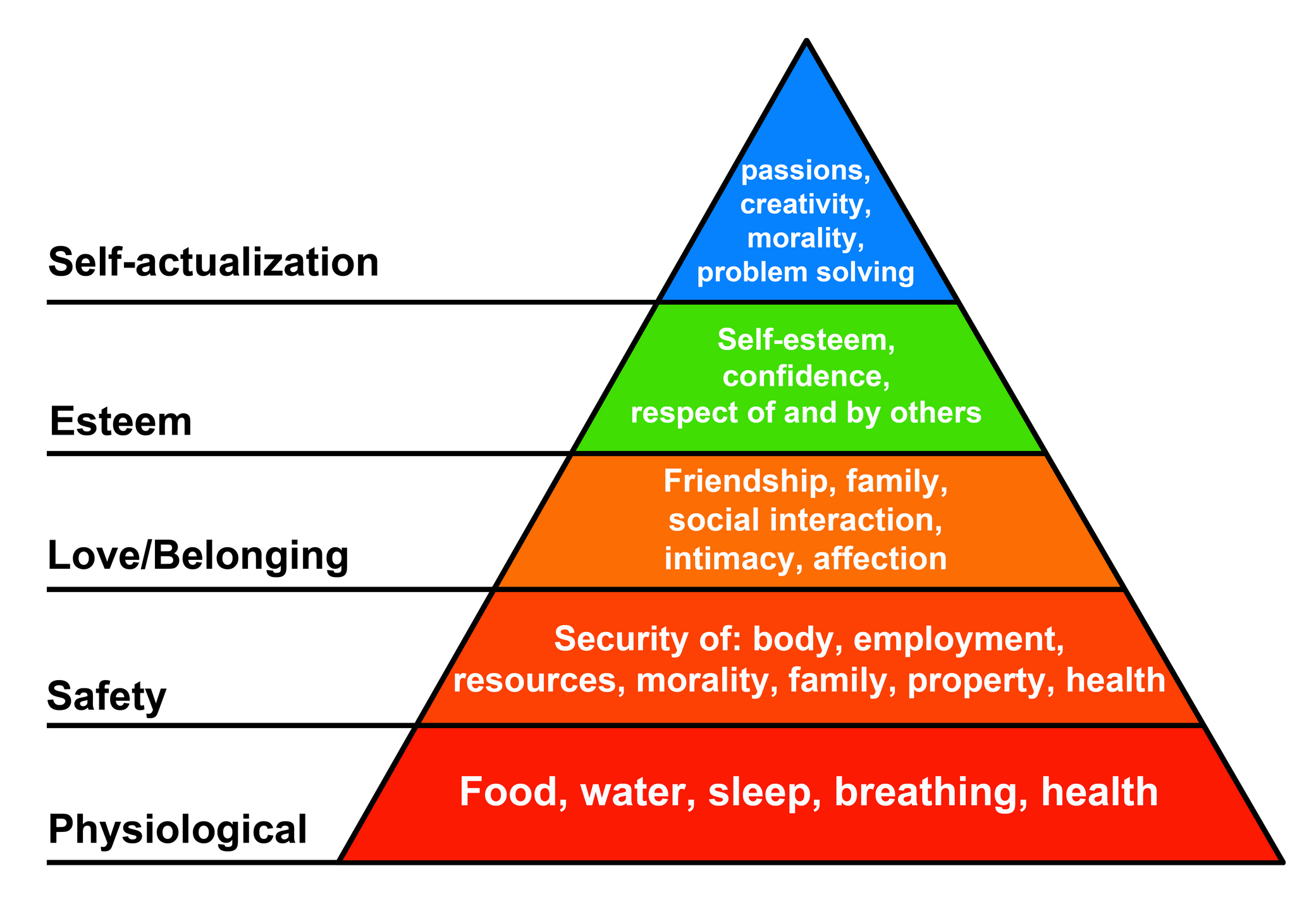 maslows hierarchy of human needs Maslow's hierarchy of needs is a description of the needs that motivate human behavior in 1943, abraham maslow proposed five different kinds of human needs.