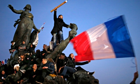 Demonstrators in Paris unity march